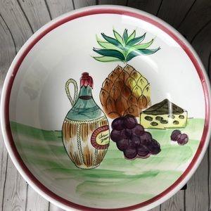 Ironstone Handpainted Large Italian Pasta Bowl